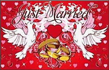 JUST MARRIED Hochzeitsflagge FB